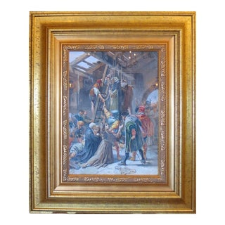 "Late 19th Century Watercolor Painting ""The Martyrs of Gorkum"" by C Fracassini For Sale"