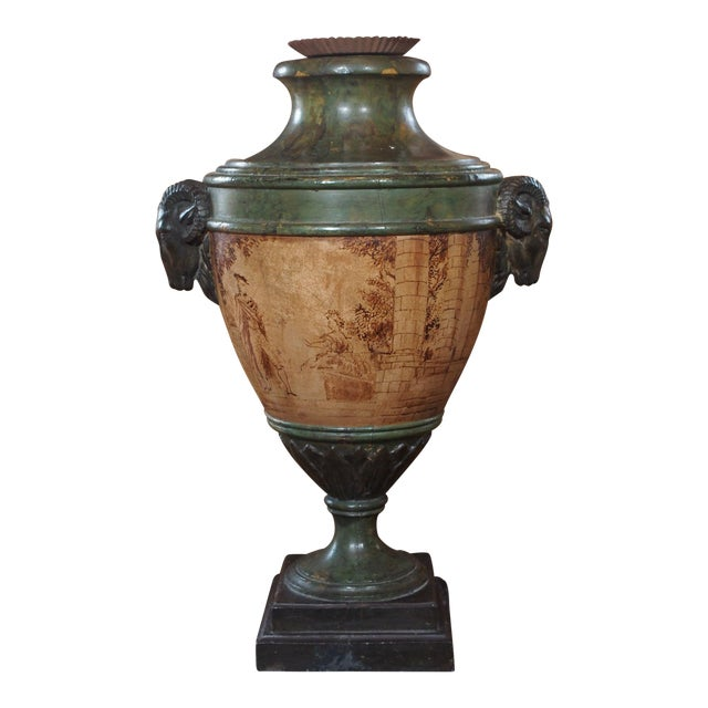 Vintage Single Italian Painted Urn Lamp For Sale