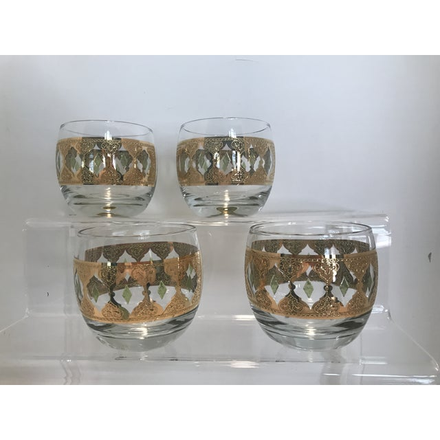 1950s Culver Valencia Green and 22k Gold Roly Poly Cocktail Glasses - Set of 4 For Sale In Houston - Image 6 of 10