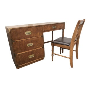Vintage Dixie Furniture Company Campaign Style Desk and Chair