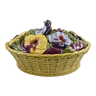 Sarreguemines French Faïence Basket of Pansies Tureen For Sale