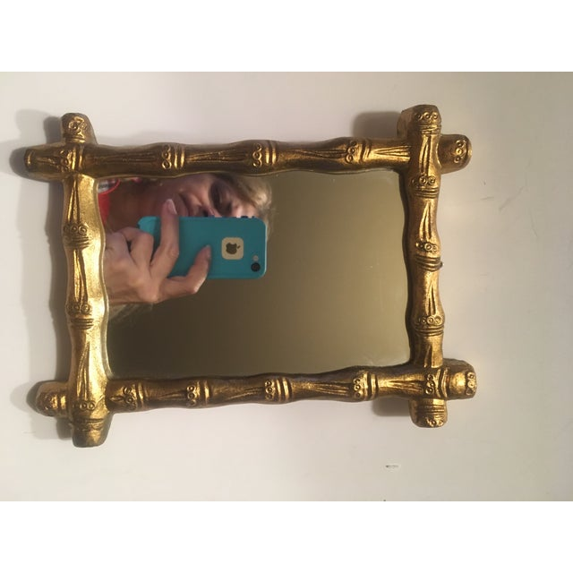 Italian Wood Florentine Gold Faux Bamboo Mirror For Sale - Image 4 of 6