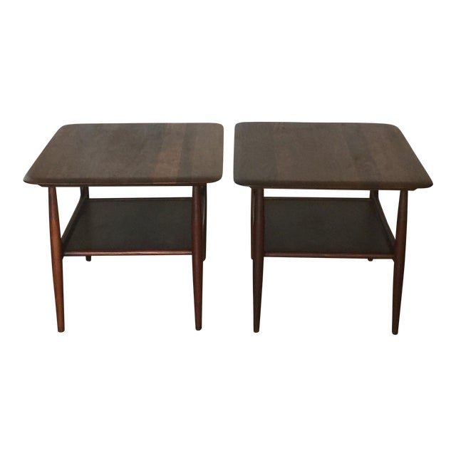 Pair of Chic Two-Tier Walnut Side Tables For Sale