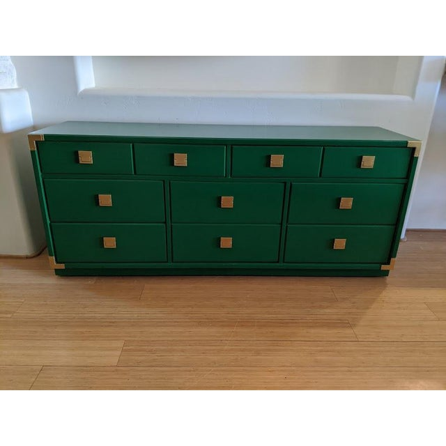 1970s Thomasville Campaign Gloss Green Dresser Credenza For Sale - Image 9 of 9