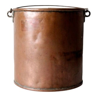 Antique Copper Bucket With Bail Handle For Sale