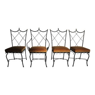 Jean Royere Style Iron and Brass Dining Chairs - Set of 4 For Sale