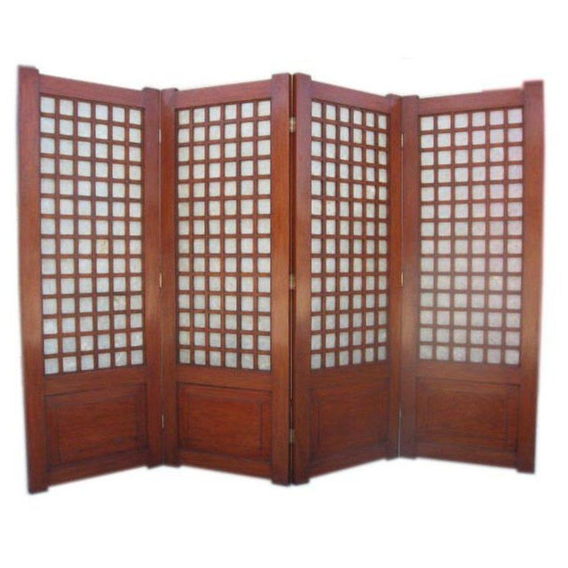 Mid-Century Four Panel Abalone and Mahogany Screen For Sale In Los Angeles - Image 6 of 6