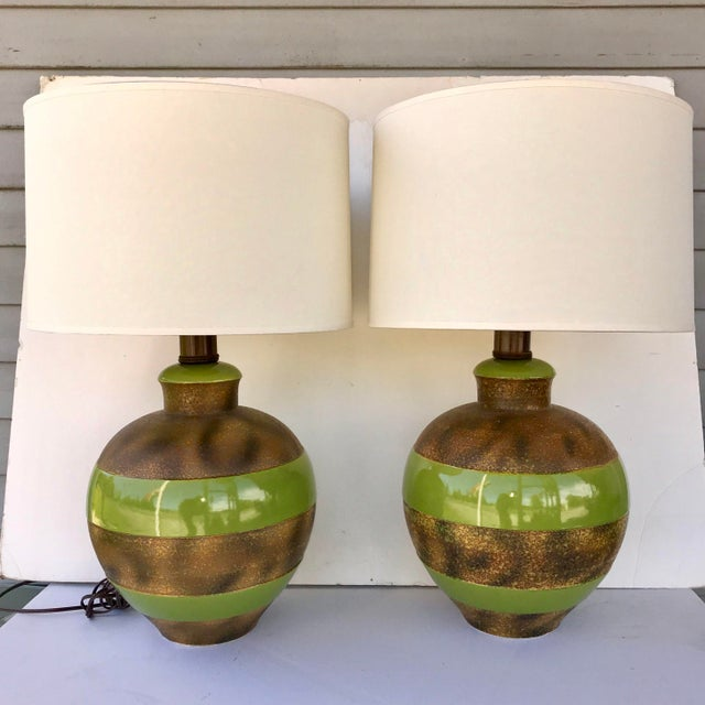 Large Bulbous Green and Bronze Striped Ceramic Lamps - a Pair For Sale - Image 9 of 9