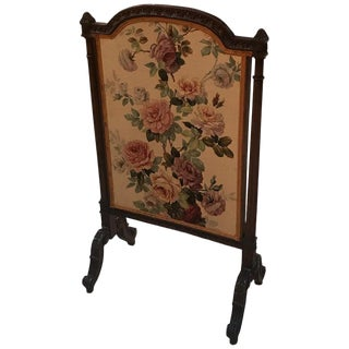Carved Mahogany and Floral Linen Fire Screen For Sale