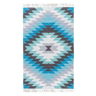 Jaipur Living Mojave Indoor/ Outdoor Geometric Aqua/ Gray Area Rug - 8′ × 10′ For Sale