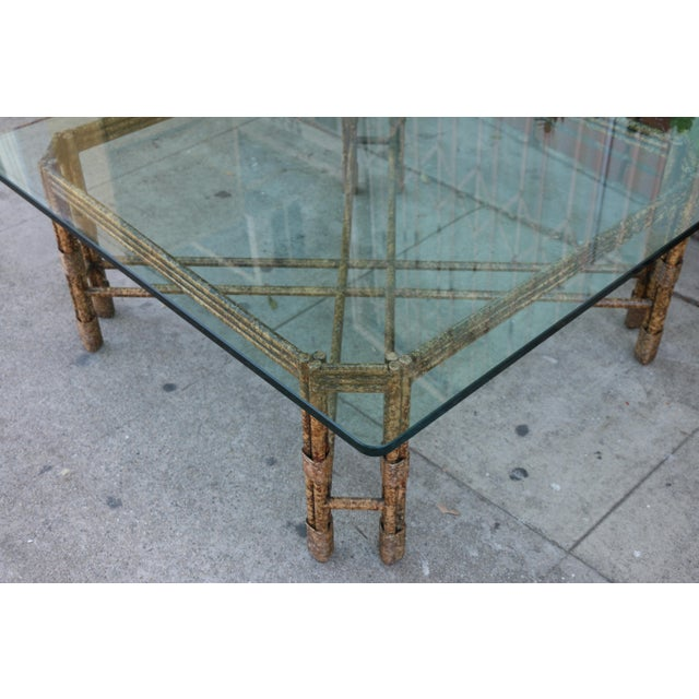 Hollywood Regency Metal Distressed Rustic Coffee Table For Sale - Image 3 of 10