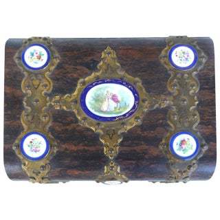 j.a. Simpson & Co Lap Desk With Gilt Bronze and Painted Porcelain Plaques For Sale