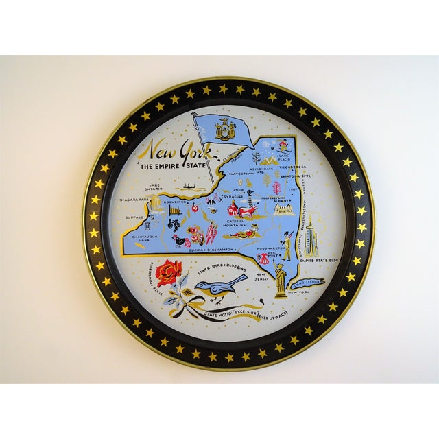 This vintage souvenir New York tray will be perfect for serving your cocktail drinks or have it decorated. New York State-...
