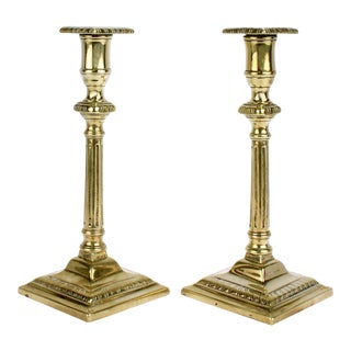 Antique Late 18th Century English Brass Chippendale Candlesticks - A Pair For Sale