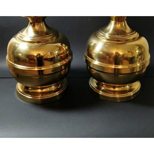 Late 20th Century Vintage Italian Table Lamps in Polished Brass - a Pair For Sale - Image 5 of 13