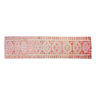 House of Séance - 1950s Vintage Kurdish Long Narrow Medallion Wool Pile Hand-Knotted Rug - 2′8″ × 10′4″ For Sale