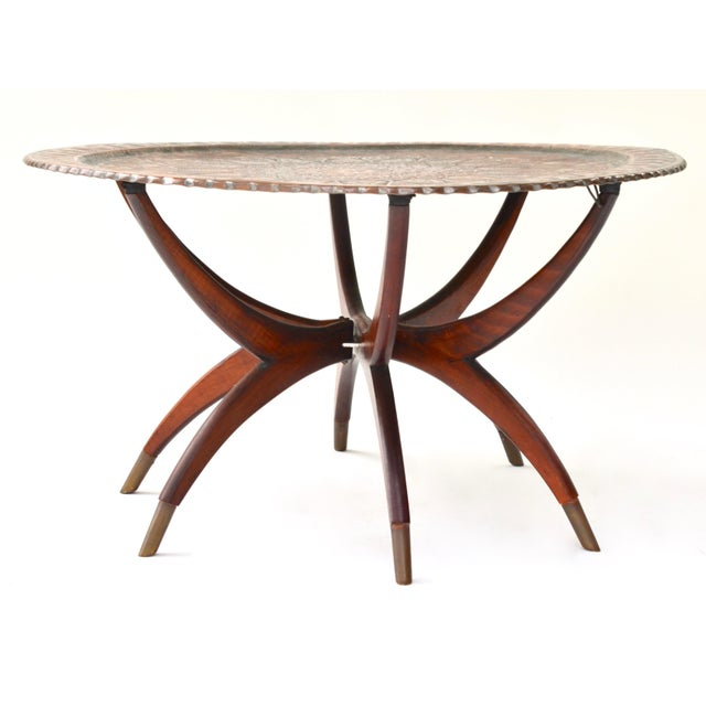 Late 19th Century Large Antique Copper Tray Table on Midcentury Folding Base For Sale - Image 5 of 5