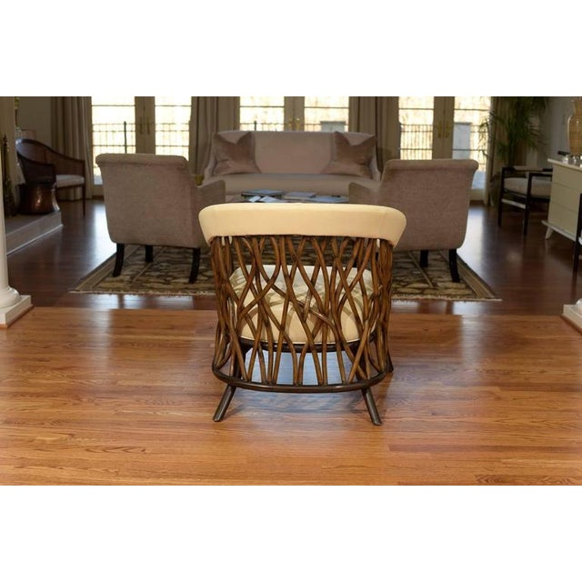 Animal Skin Stunning Pair of Rattan Club Chairs in Parchment Leather For Sale - Image 7 of 9