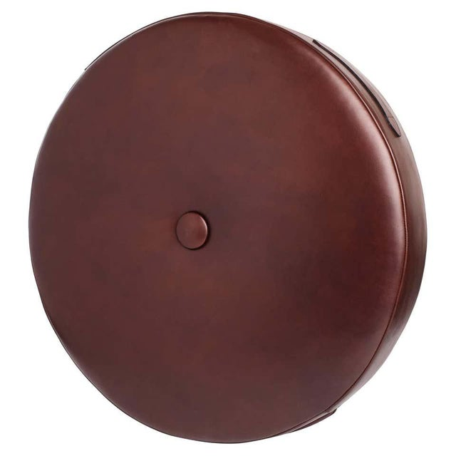Leather Leather Drum Stacking Cushion in Brown by Moses Nadel For Sale - Image 7 of 7