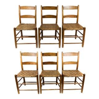 Early 1900s Farmers Chairs Split Oak Seats For Sale