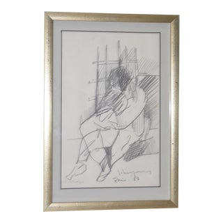 "John Young (Hawaii, 1909-1997) ""Paris"" Original Graphite Drawing c.1983"