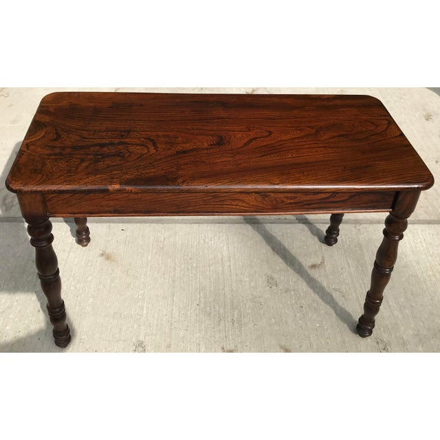 Beautiful solid Rosewood library or console table. Could be used as a desk. The Rosewood has a rich color and patina! Hand...