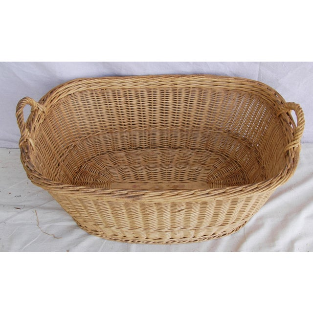 Vintage French Oval Wicker Market Basket - Image 6 of 10
