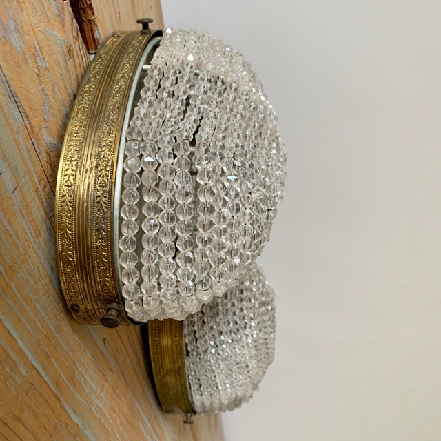 Metal Early 20th Century Beaded Crystal Flush Mounts Rewired - a Pair For Sale - Image 7 of 7