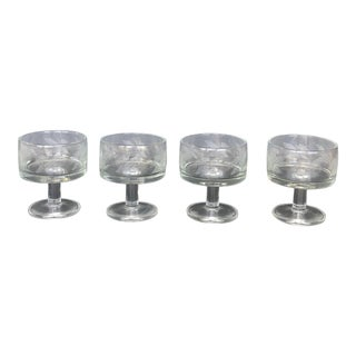 Italian Mid Century Etched Glass Sherbet Cups Champagne Glasses - Set of 4 For Sale