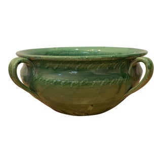 Ceramic Italian Green Glazed Cachepot by Artistica For Sale