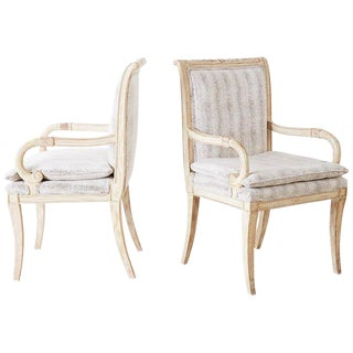 Pair of Neoclassical Regency Style Armchairs or Library Chairs For Sale