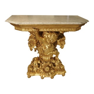 Fantastic Antique Giltwood Cherub Console, Circa 1750 For Sale
