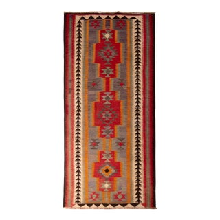 Vintage Mid-Century Geometric Red and and Blue Wool Kurdish Persian Kilim For Sale