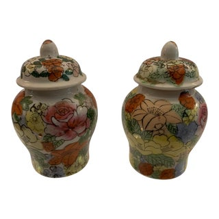 Vintage Mid Century Hand Painted Oriental Porcelain Ginger Jars- A Pair For Sale