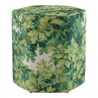 Hexagonal Ottoman In Verdure Bois De Chene By Old World Weavers For Sale