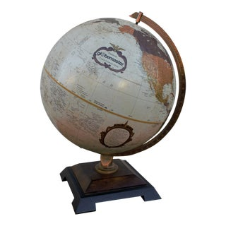 Vintage 1980s Table Globe with Wood Base For Sale