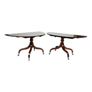 Unusual Irish Regency Two Pedestal Dining Table For Sale