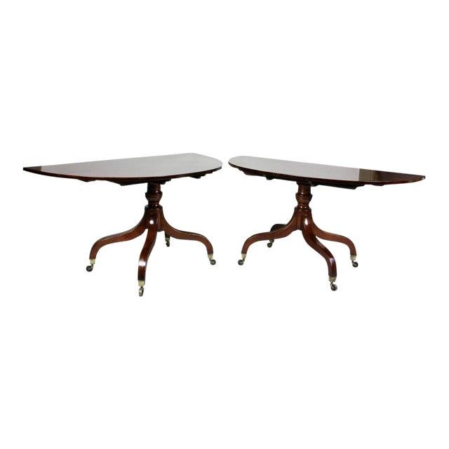 Unusual Irish Regency Two Pedestal Dining Table For Sale