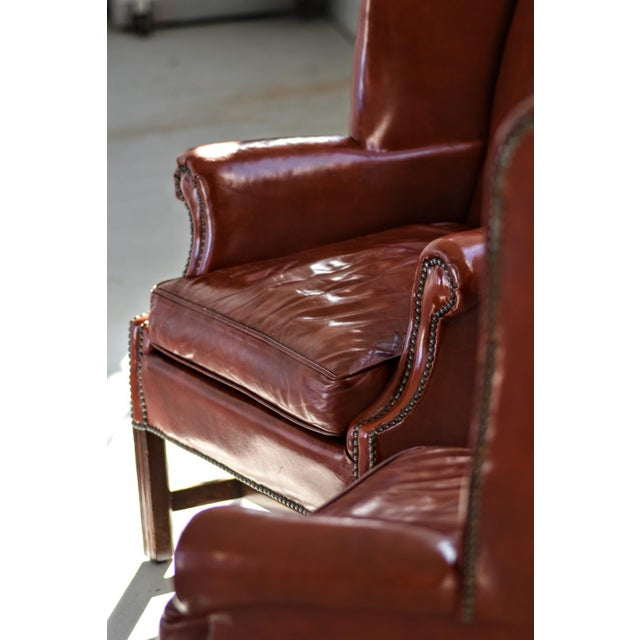1950s Vintage Marbled Red Leather Georgian H-Base Wingback Fireside Chairs - Pair For Sale - Image 5 of 13