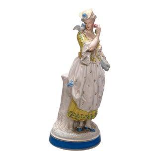 Antique German Hand Painted Meissen School Porcelain Maiden Figure For Sale