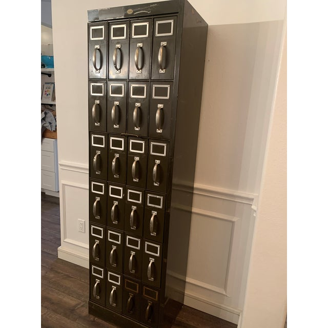 Mid 20th Century Vintage Industrial Filing Cabinet 24 Drawer For Sale - Image 4 of 12