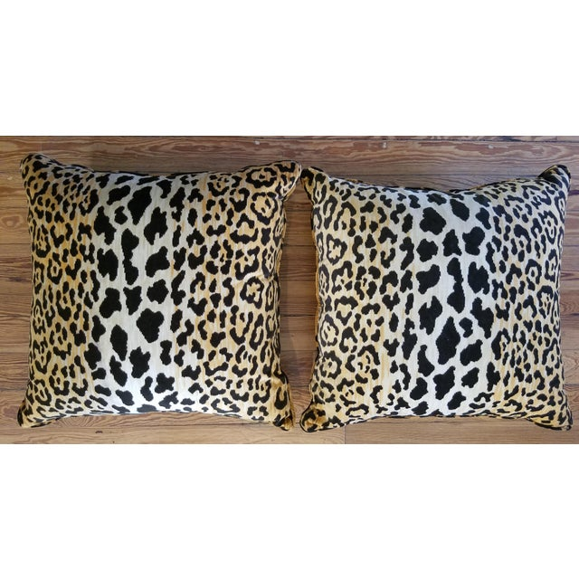 New custom made pair of cotton velvet reversible tiger print pillows with a small self cord in the seam. Sewn shut with...