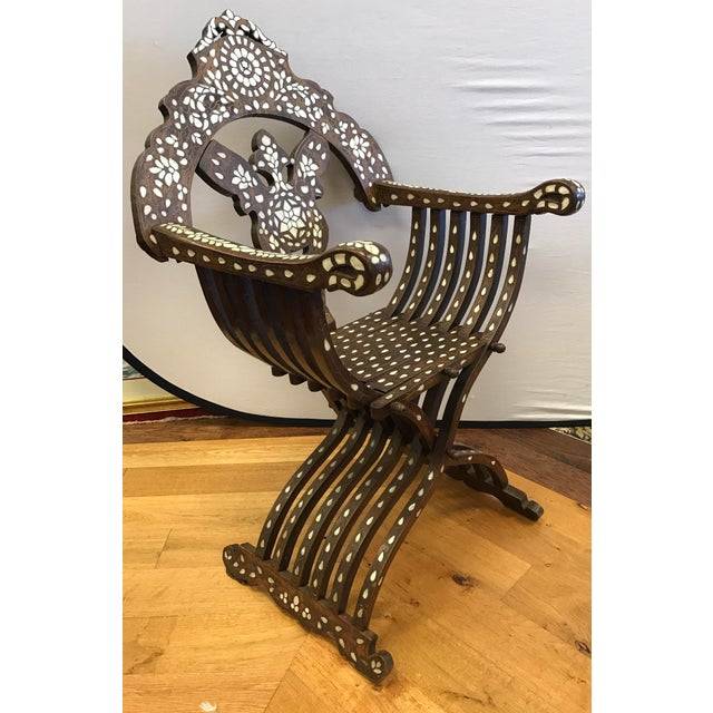 Late 19th Century Antique Mother-Of-Pearl Inlay Savonarola Chair For Sale - Image 9 of 13