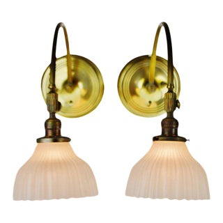 Victorian Style Brass Wall Sconces by Chase Brass - a Pair For Sale