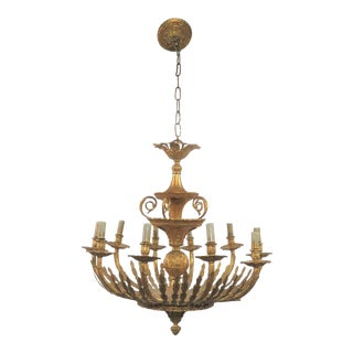 French Gilt Bronze 10 Light Chandelier