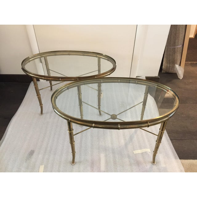 Mid-Century Modern Pair of Brass Faux Bamboo Mastercraft Oval Tables For Sale - Image 3 of 8