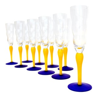 Postmodern Champagne Flutes - Cobalt Blue Art Glass For Sale