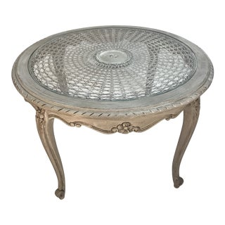 French Style Round Gray Tone Painted Side Table