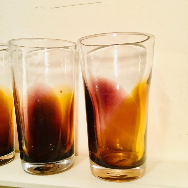 Handblown Golden Bronze Ombre Drinking Glasses - Set of 4 For Sale - Image 4 of 7