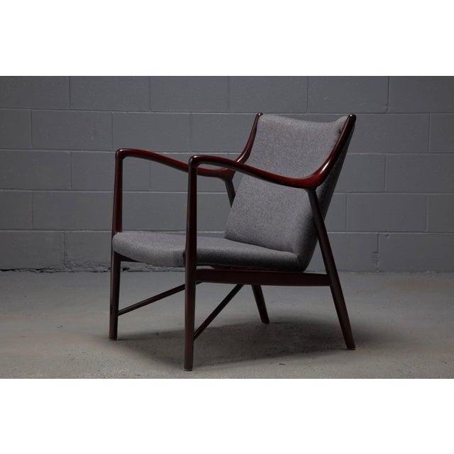 Finn Juhl Rosewood Finished Danish Modern Chair in Style of Finn Juhl / Niels Vodder Nv45 For Sale - Image 4 of 6